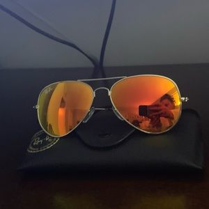 Rayban silver frame aviators red/orange lens